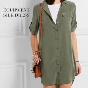 Equipment army green silk dress